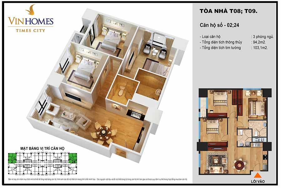 layout căn 3 phòng ngủ điển hình